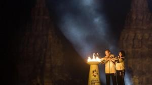 FOTO: Penyatuan Api Abadi Obor Asian Games 2018