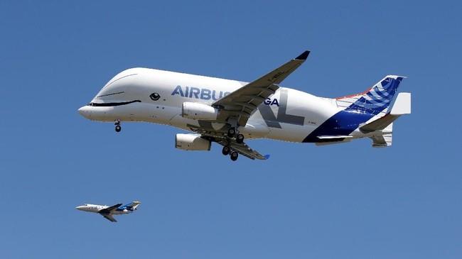 Airbus Beluga XL akan dipakai buat mengangkut sejumlah komponen pesawat ke lokasi perakitan akhir di Toulouse, Prancis, dan Hamburg, Jerman. (REUTERS/Regis Duvignau).