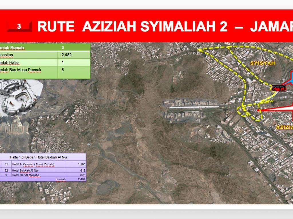 Rute selanjutnya adalah Rute Aziziah Syimaliah 2-Jamarat