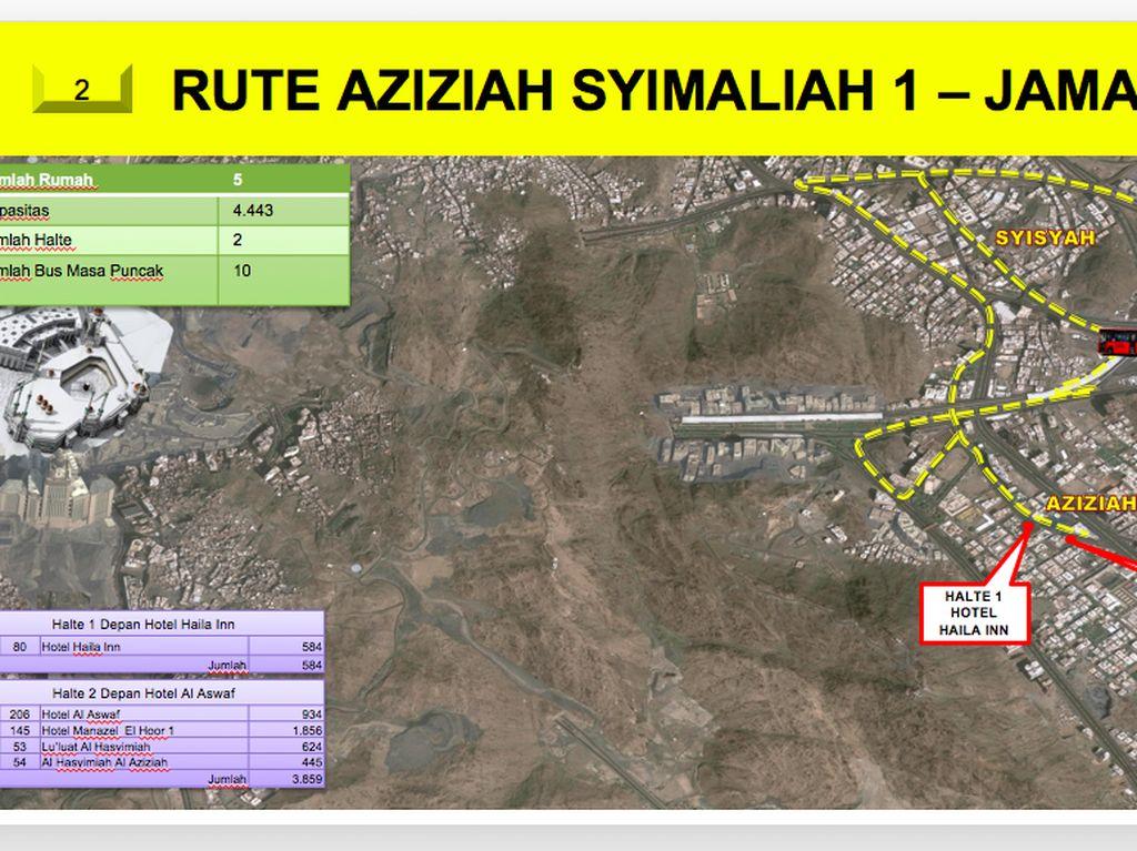 Rute selanjutnya adalah rute Aziziah Syimaliah 1-Jamarat