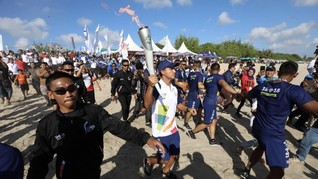 Jalanan Jakarta yang Ditutup Saat Kirab Obor Asian Games