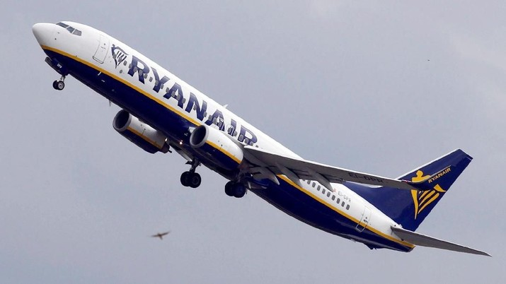 FILE PHOTO: A Ryanair Boeing 737-800 passenger jet takes off in Colomiers near Toulouse, France, October 19, 2017. REUTERS/Regis Duvignau/File Photo