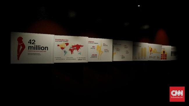 Museum ini juga menyajikan data dunia prostitusi di dunia, seperti jumlah para PSK, biaya yang dihabiskan sekali mengunjungi PSK, dan data-data terkait. (CNN Indonesia/Endro Priherdityo)