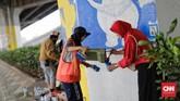 Lepas dari lomba ini, Gubernur DKI Jakarta Anies Baswedan sendiri menginginkan lebih banyak mural hiasi dinding-dinding kota di seluruh wilayah Jakarta.(CNN Indonesia/Adhi Wicaksono)