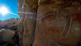 Beberapa lukisan yang terdapat di gua Taira, terletak di ketinggian 3.150 meter di atas permukaan laut. Lukisan itu diyakini dibuat oleh menusia kala masih hidup di masa berburu dan meramu. (AFP PHOTO / Martin BERNETTI)