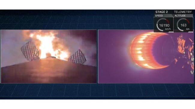 Roket Falcon 9 mendorongsatelit dan mesin pendorongnya hingga keluar atmosfer.Setelah keluar atmosfer, lapisan pelindung di ujung roket dilepaskan.