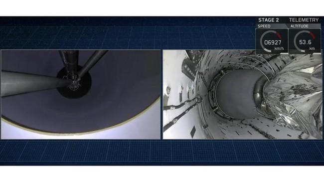 Momen menjelang dilepaskannya satelit dan roket pendorong kedua dilepaskan dari Falcon 9 SpaceX.