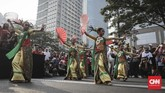 Acara bertajuk 'Tunjukkan Indonesiamu' yang diselenggarakan oleh Yayasan Belantara Budaya Indonesia menjadi bagian kampanye #IndonesiaIsMe ini guna untuk mengenalkan budaya Indonesia kepada anak muda. (CNN Indonesia/ Hesti Rika)