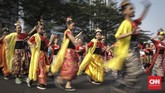 Acara tesebut berlangsung guna untuk menyambut Asian Games 2018 sekaligus HUT RI ke-73. (CNN Indonesia/ Hesti Rika)