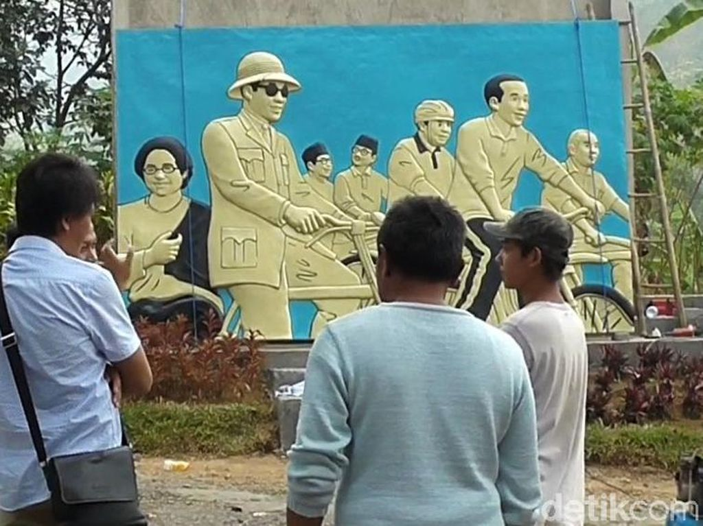 Keren! Relief Tujuh Presiden Indonesia Mejeng di Garut