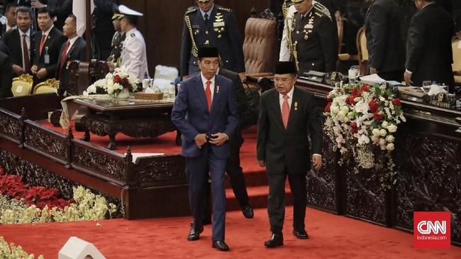 Dalam pidato kenegaraan, Jokowi menegaskan pemerintah akan tetap mendukung Komisi Pemberantasan Korupsi (KPK). Menurutnya, tata kelola pemerintahan yang baik dapat tercipta ketika tidak ada korupsi. (CNN Indonesia/Hesti Rika)