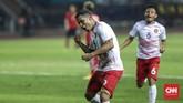 Beto Goncalves meluapkan kegembiraannya usai mencetak gol pertama ke gawang Laos memanfaatkan assist Saddil Ramdani. (CNNIndonesia/Adhi Wicaksono)