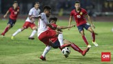 Saddil Ramdani yang dimainkan sejak menit awal sukses menyumbang satu assist terhadap gol pertama Timnas Indonesia yang dicetak Beto Goncalves. (CNNIndonesia/Adhi Wicaksono)