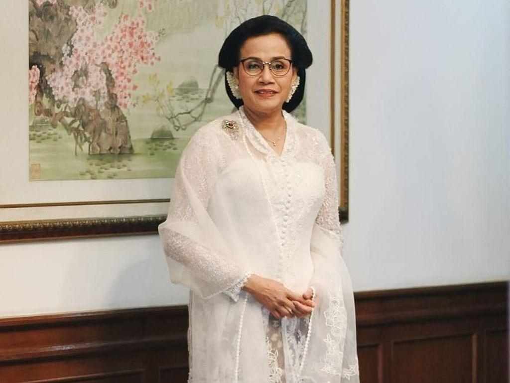 HUT RI ke-73, Sri Mulyani Cantik Berkebaya Putih ala Tahun 20-an