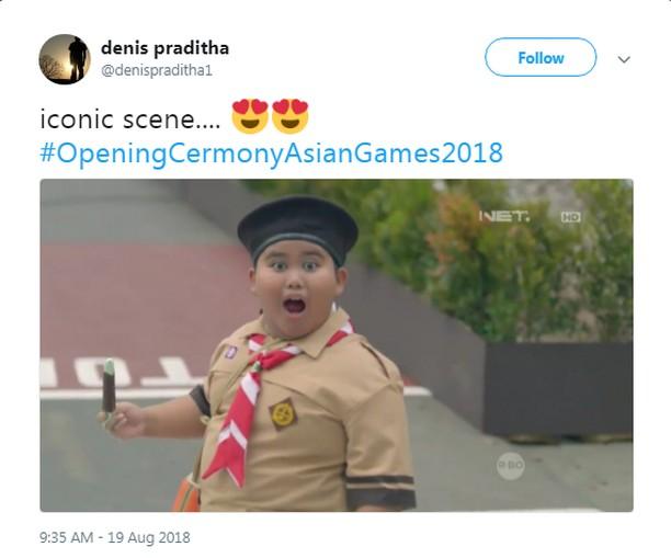 Ekspresi Anak Pramuka di Pembukaan Asian Games 2018 Bikin Gemas