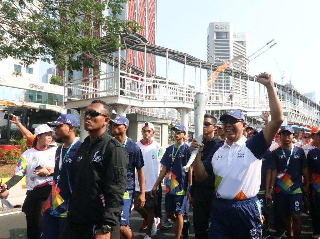 Rute kirab obor yang dilakukan oleh Baiquni melewati Kantor Pusat BNI yang berada di Jalan Jendral Sudirman, Jakarta Pusat. Partisipasi tersebut merupakan salah satu bentuk dukungan BNI sebagai Official Prestige Digital Banking Partner Asian Games 2018. Istimewa.