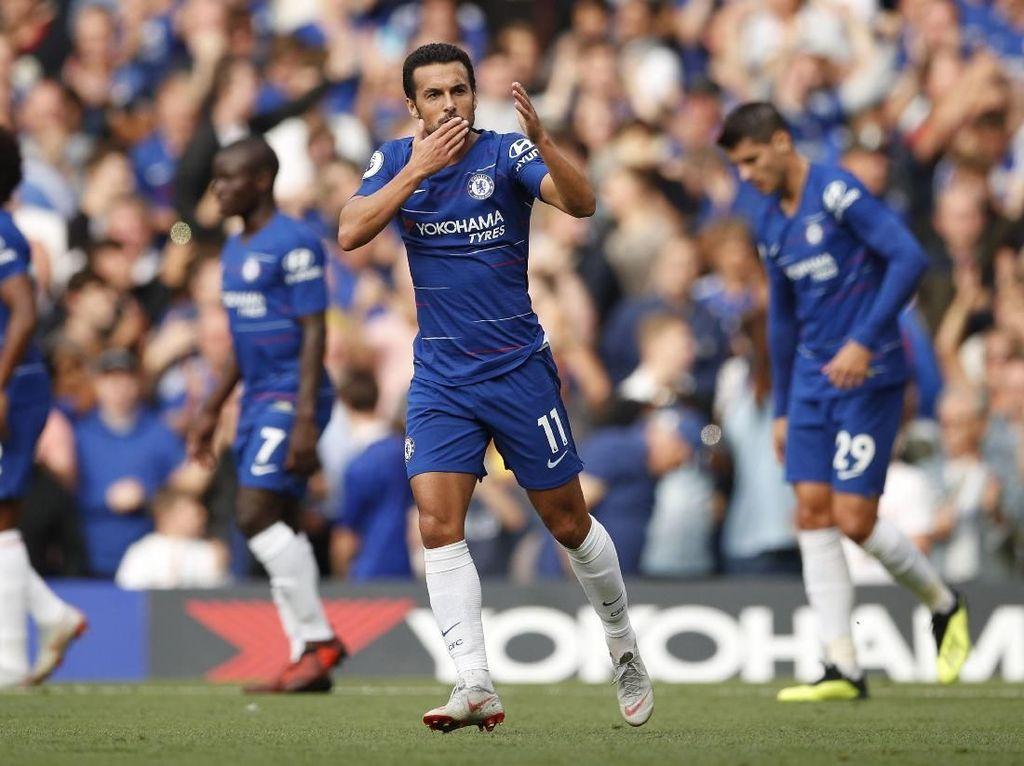 Chelsea dan Arsenal berhadapan di Stamford Bridge, Sabtu (18/8/2018) malam WIB di laga pekan kedua Premier League. Laga berjalan terbuka sejak awal dan Chelsea unggul cepat lewat Pedro Rodriguez di menit ke-9. (Foto: John Sibley/Action Images via Reuters)