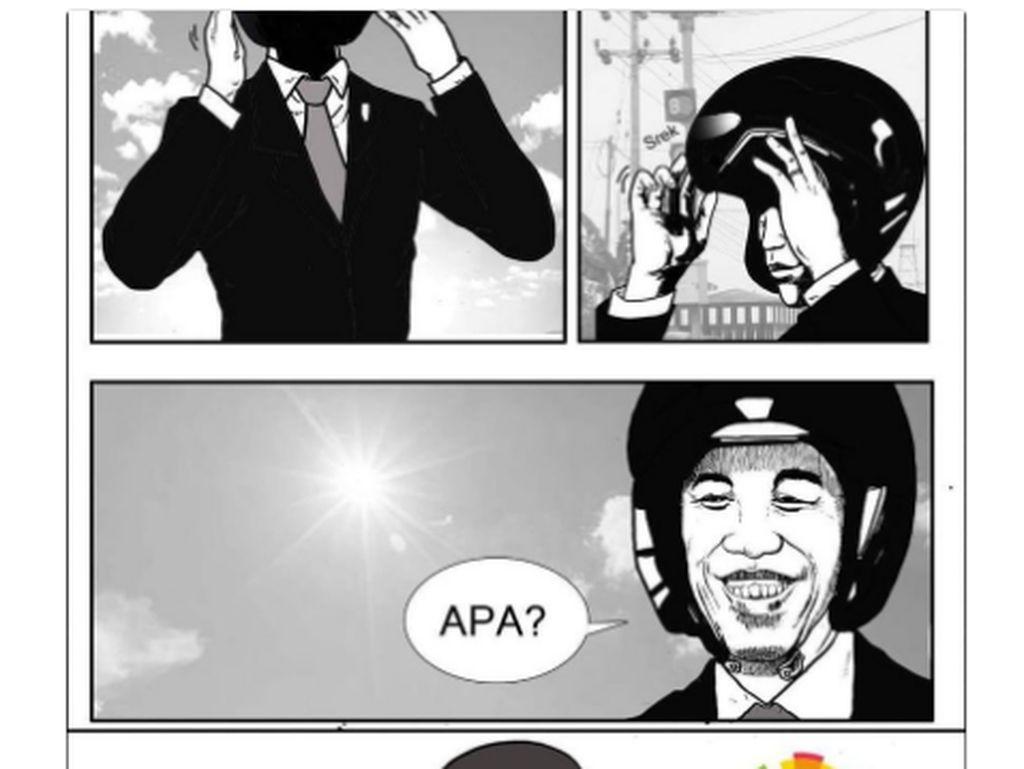Adegan ikonik tersebut diabadikan dalam bentuk komik. Foto: Internet