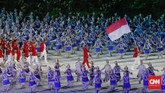 Defile kontingen Indonesia saat acara pembukaan Asian Games 2018 di Stadion Utama Gelora Bung Karno, Jakarta, Sabtu, 18 Agustus 2018. (CNNIndonesia/Adhi Wicaksono)