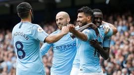 Aguero Hattrick, Man City Menang 6-1 atas Huddersfield
