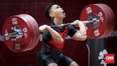Di usaha ketiga Eko Yuli Irawan sempat berusaha menangkat 175 kilogram di clean and jerk. Tapi, usaha lifter 29 tahun itu gagal melakukannya. (CNNIndonesia/Safir Makki)
