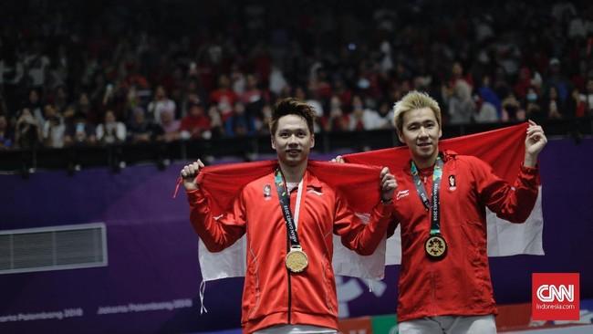 Kevin Sanjaya Sukamuljo/Marcus Fernaldi Gideon meraih sukses pada nomor individu di Asian Games 2018. (CNN Indonesia/Adhi Wicaksono)