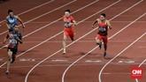 Tim estafet Indonesia sukses mencapai garis finis dengan catatan waktu 38,77 detik, tertinggal 0,61 detik dari Tim Jepang yang meraih medali emas. (CNN Indonesia/Andry Novelino)
