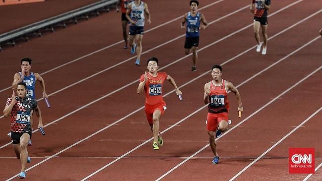 Meski sulit mengejar Jepang, namun Eko Rimbawan dan kawan-kawan mampu bertahan dari ancaman China dan Taiwan hingga garis finis. (CNN Indonesia/Andry Novelino