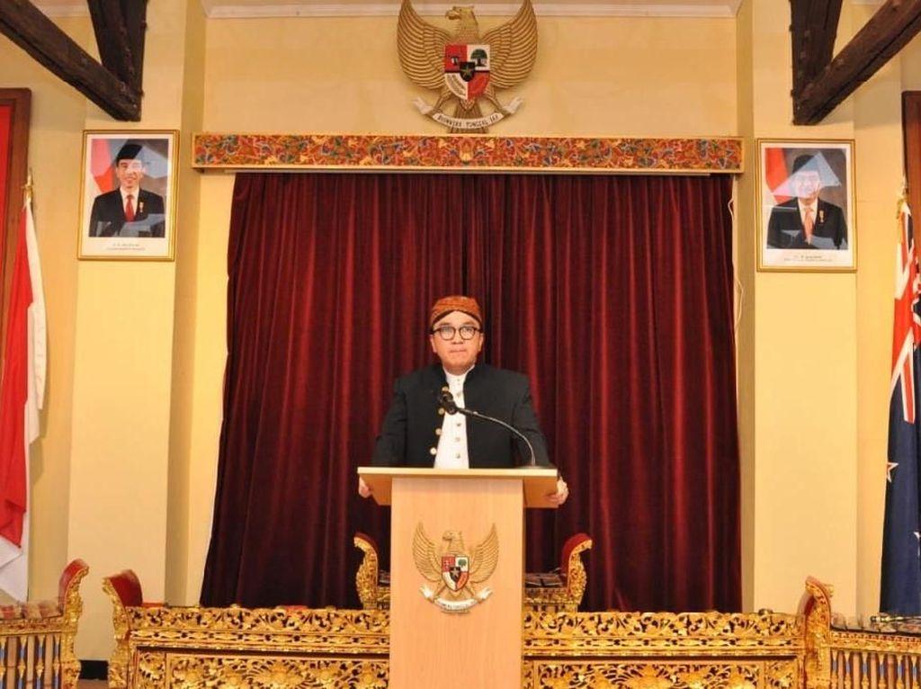 Duta Besar Indonesia untuk Selandia Baru Tantowi Yahya memberikan sambutan. Istimewa/KBRI Wellington.