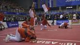 Kontingen Indonesia menutup perburuan emas Asian Games lewat keberhasilan tim sepak takraw meraih emas di nomor quadran dengan menaklukkan Jepang pada partai final. (ANTARA FOTO/INASGOC/Nova Wahyudi/nz/18)