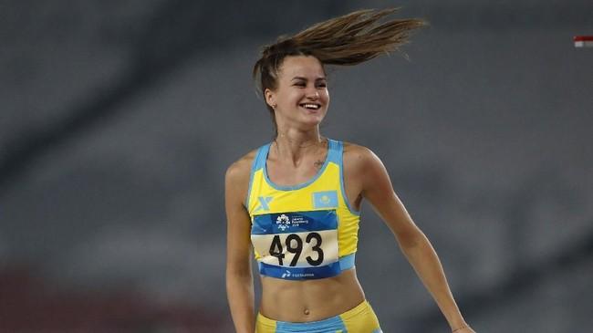 Atlet lompat tinggi asal Kazakhstan, Nadezhda Dubovitskaya yang meraih perunggu di Asian Games 2018. (REUTERS/Willy Kurniawan)