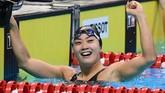 Aoki Tomomi meraih dua emas dan satu perak di cabor renang Asian Games 2018. Cabor renang mendominasi raihan emas Jepang dengan total 19 keping dari total 75 emas yang diraih kontingen itu.(AFP PHOTO / Jewel SAMAD)