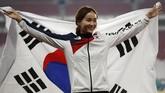 Atlet lari lompat gawang asal Korea Selatan Jung Hyelim berhasil mempersembahkan emas di nomor 100 meter. (REUTERS/Darren Whiteside)