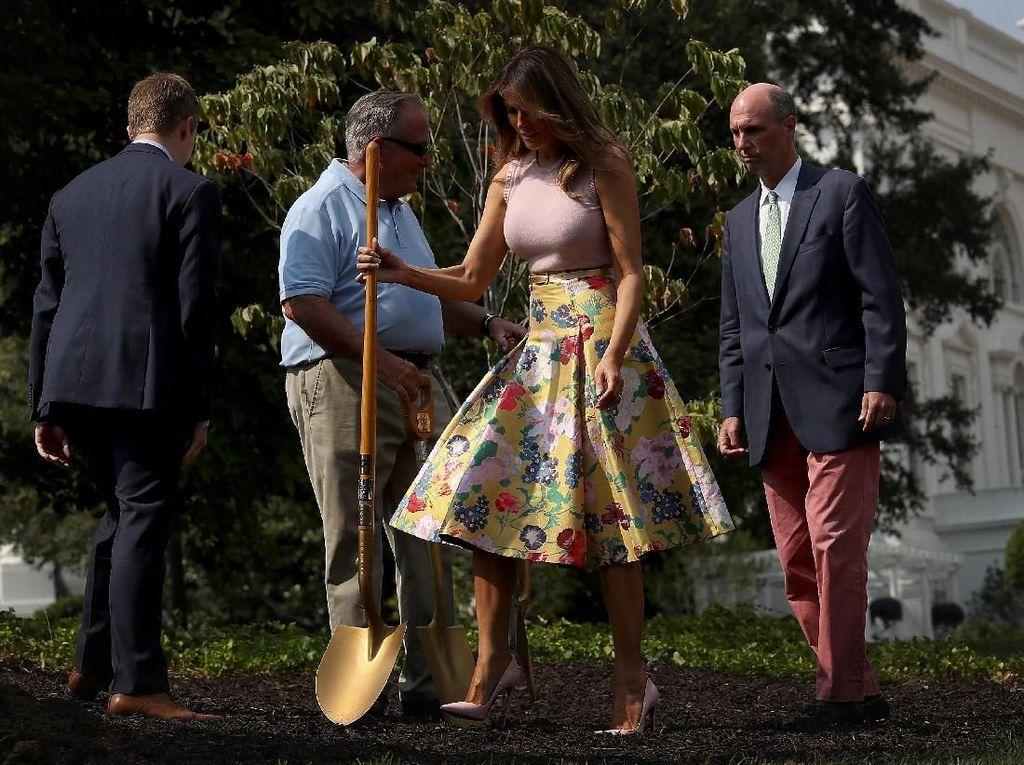 Mewah! Melania Trump Tanam Pohon Pakai Sekop Emas dan Gaun Rp 60 Juta
