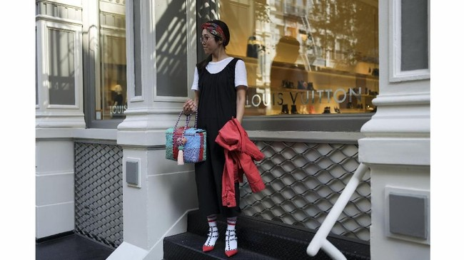 Makiko Oshino berpose di Manhattan, New York, AS, 3 September 2018.