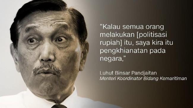 Luhut Pandjaitan, Menteri Koordinator Bidang Kemaritiman.