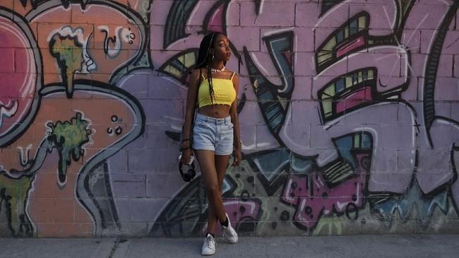 Kafilah Muhammad (21) berpose di Brooklyn, New York, AS, 3 September 2018.