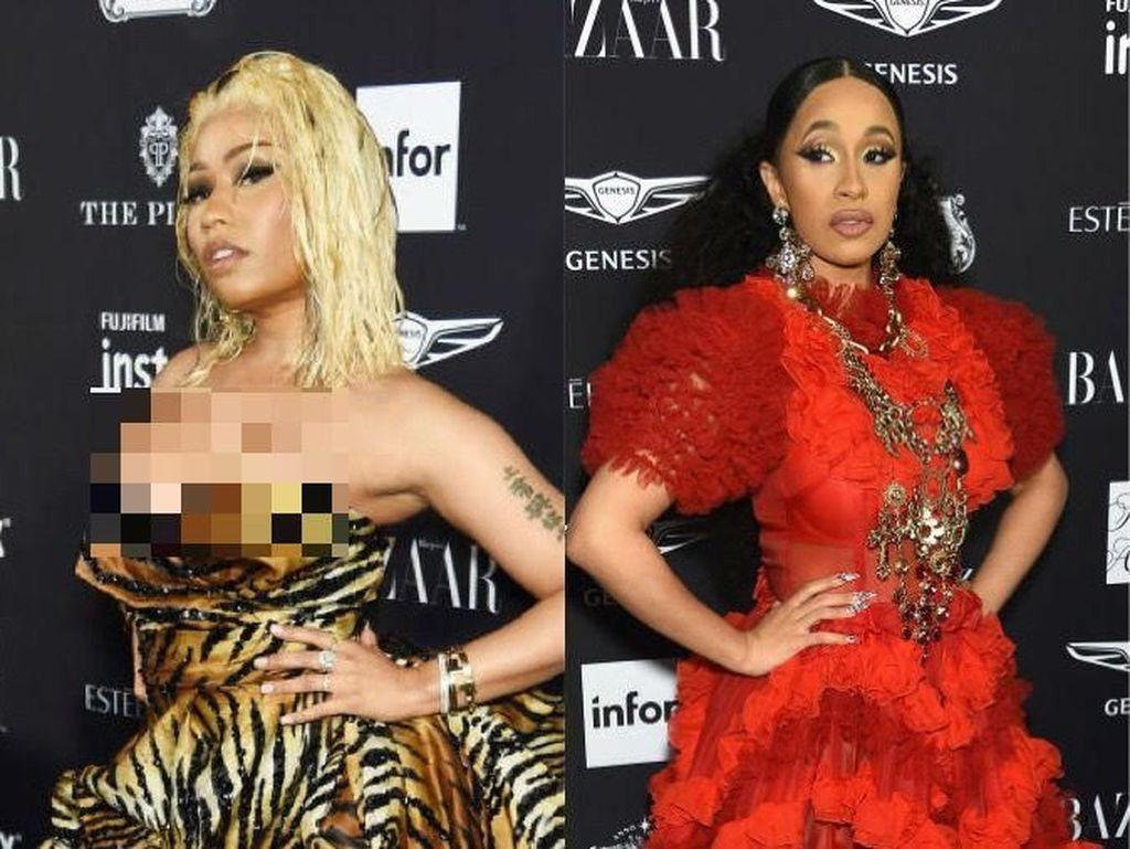 Adu Gaya Seksi Nicki Minaj dan Cardi B di Karpet Merah Sebelum Berkelahi