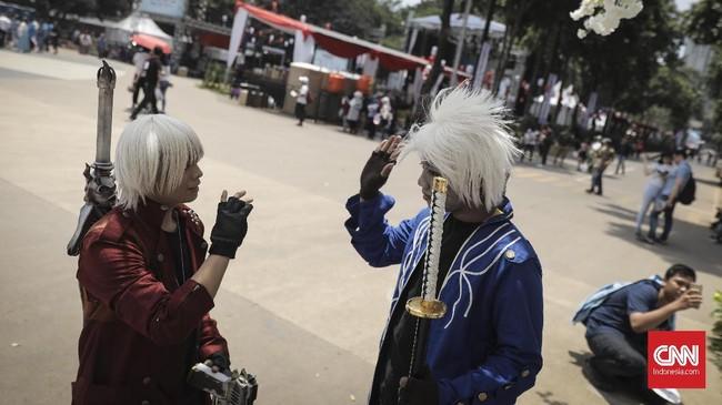 Acara Jak-Japan Matsuri 2018 di Gelora Bung Karno, Senayan menjadi ajang bertemunya cosplayer,Jakarta (9/9). (CNN Indonesia/ Hesti Rika)