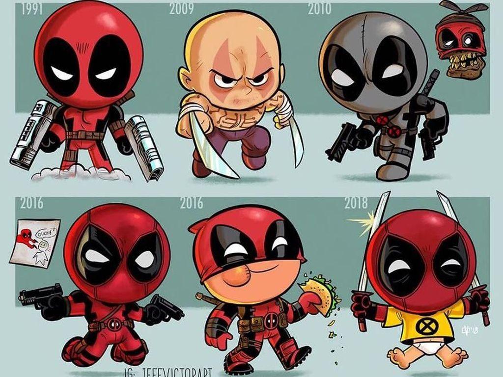 Deadpool, dari tahun 1991 hingga 2018. (Foto: Jeff Victor)