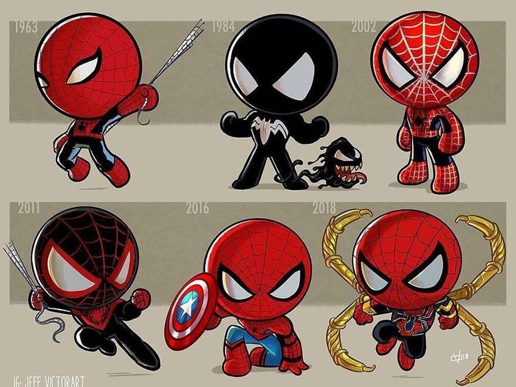 Spider Man, dari tahun 1963 hingga 2018. (Foto: Jeff Victor)