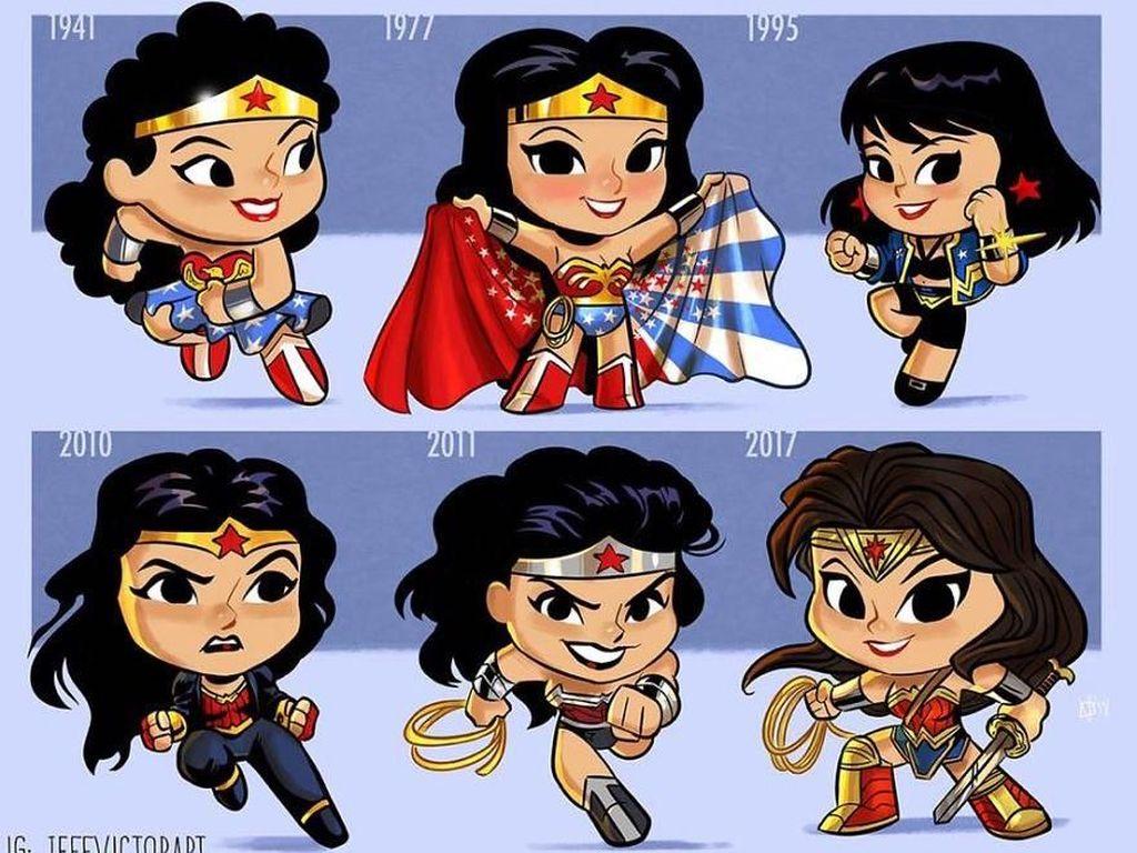 Wonder Woman, dari tahun 1941 hingga tahun 2017. (Foto: Jeff Victor)