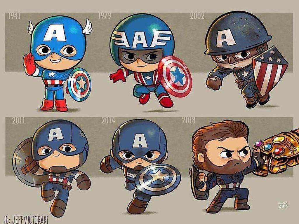 Captain America, dari tahun 1941 hingga 2018. (Foto: Jeff Victor)