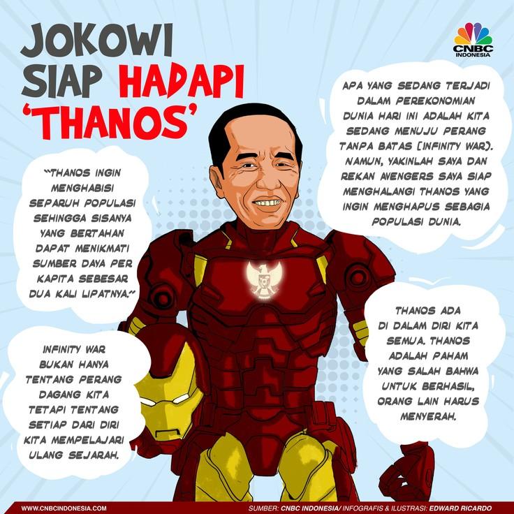 Jokowi sebut kondisi perekonomian dunia saat ini mengarah 'perang yang tak terbatas' atau 'infinity war', seperti cerita film besutan Marvel