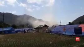 VIDEO: Angin Kencang Terpa Korban Gempa Lombok