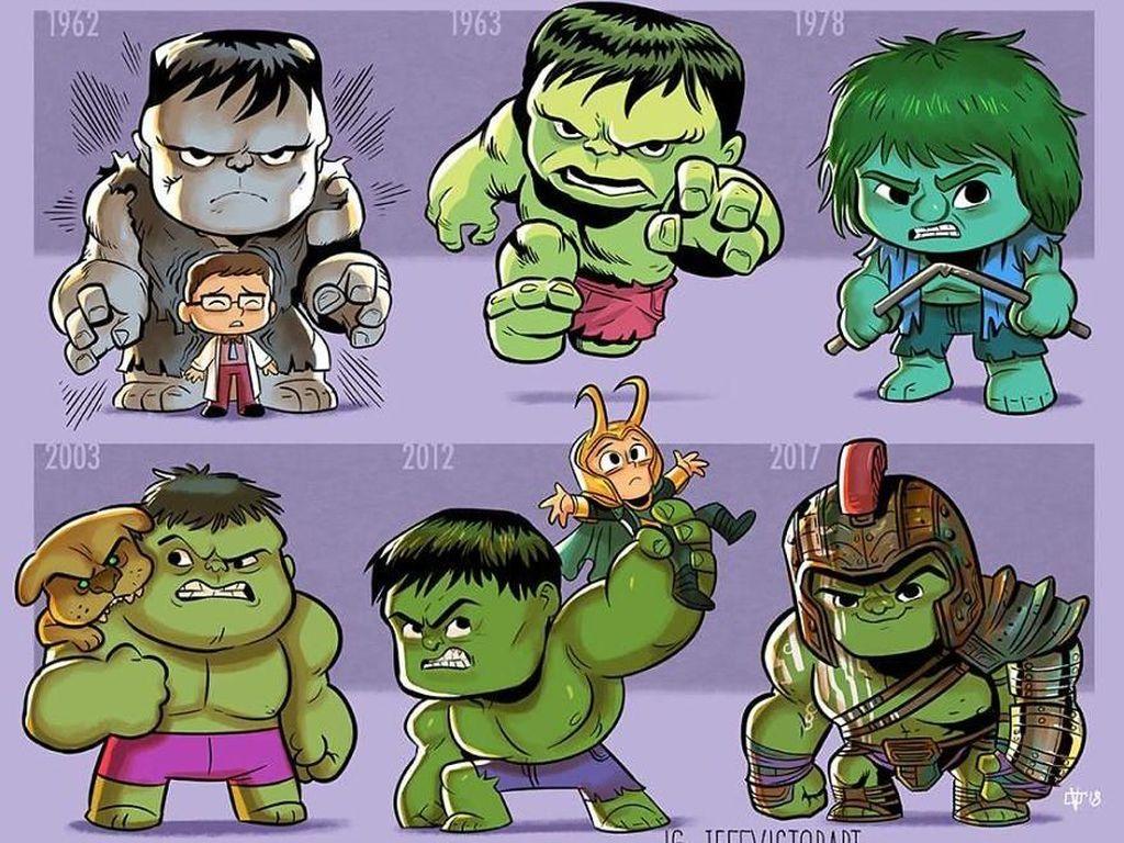 Hulk, dari tahun 1962 hingga tahun 2017. (Foto: Jeff Victor)