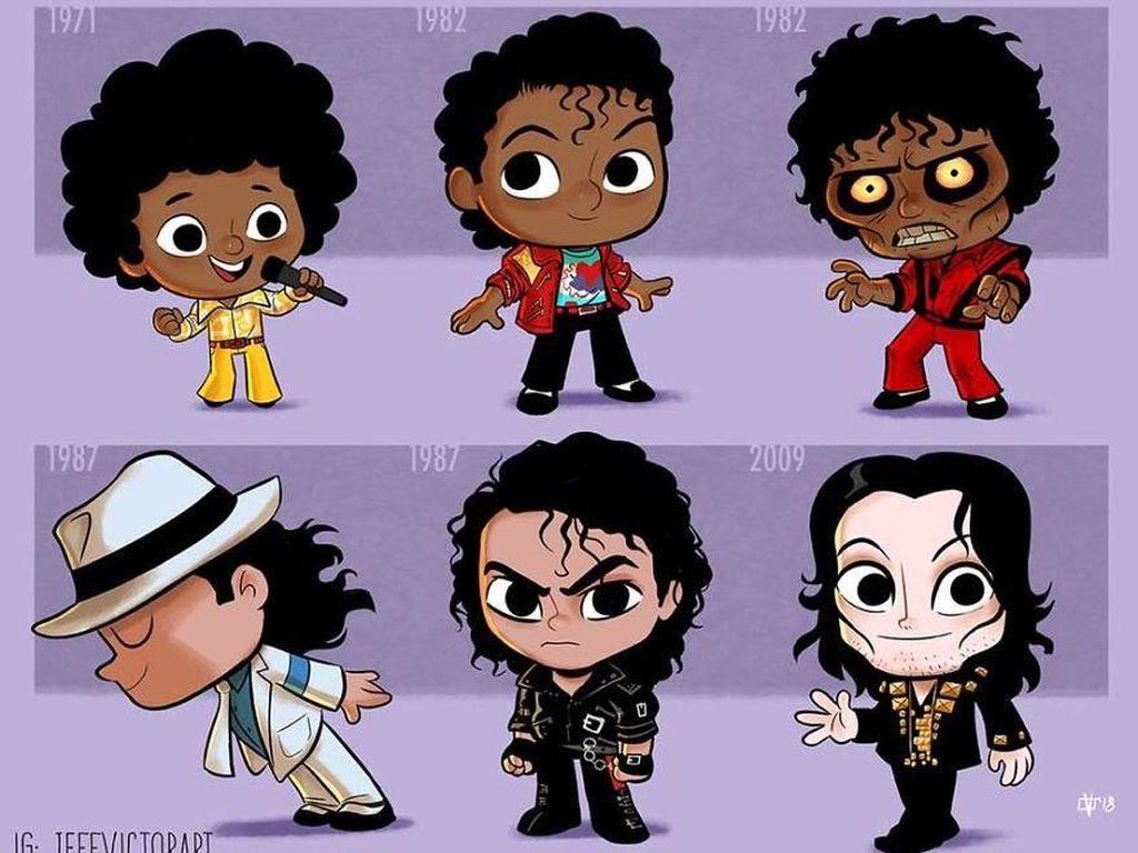Gaya penyanyi Michael Jackson dari tahun 1971 hingga 2009. (Foto: Jeff Victor)