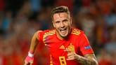 Saul Niguez membuka pesta gol Spanyol dengan gol cepat di menit ke-24. (REUTERS/Heino Kalis)