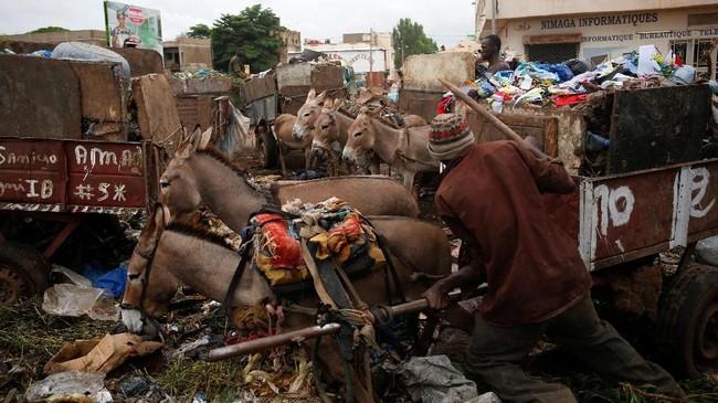 Sampah rumah tangga semakin menumpuk di Bamako. Namun, otoritas setempat gagal memindahkan sampah dari pengepul lokal. (REUTERS/Luc Gnago)