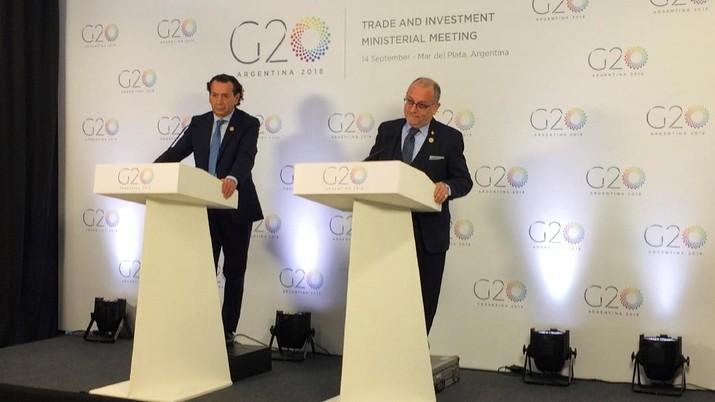Menteri Perdagangan dari Kelompok 20 negara mengatakan pada Jumat bahwa ada kebutuhan mendesak untuk merombak Organisasi Perdagangan Dunia.